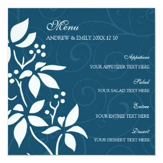 Redemoinhos do azul do menu do casamento e floral convite quadrado 13.35 x 13.35cm