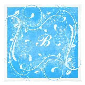 Redemoinhos do azul e do branco que Wedding o Convite Quadrado 13.35 X 13.35cm
