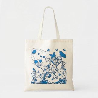 Redemoinhos do azul e sacola da borboleta bolsa tote