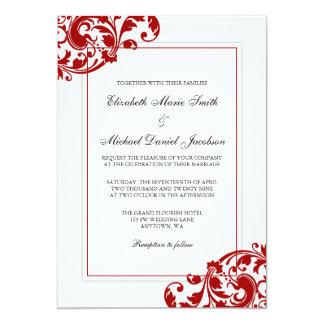 Redemoinhos do Flourish do vermelho e do branco Convite 12.7 X 17.78cm