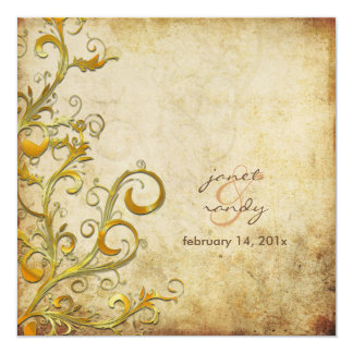 Redemoinhos do flourish do vintage convite quadrado 13.35 x 13.35cm