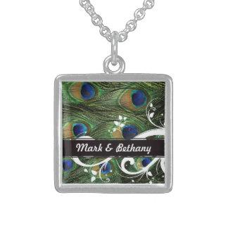 Redemoinhos do pavão colar de prata esterlina
