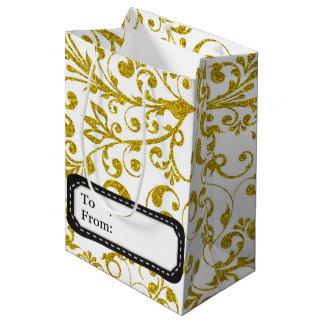 Redemoinhos elegantes do ouro sacola para presentes média