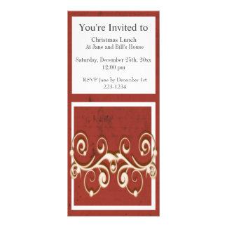 Redemoinhos elegantes em um fundo afligido vermelh 10.16 x 22.86cm panfleto