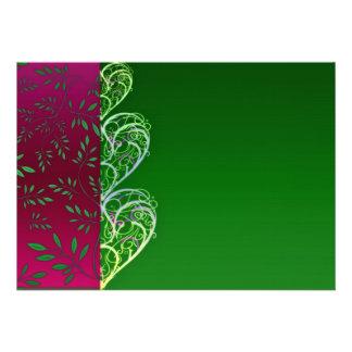 Redemoinhos esverdeados expressivos e folhas convites personalizados