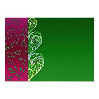 Redemoinhos esverdeados expressivos e folhas convite 12.7 x 17.78cm