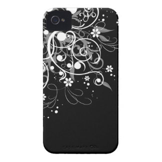 Redemoinhos florais preto e branco capinha iPhone 4