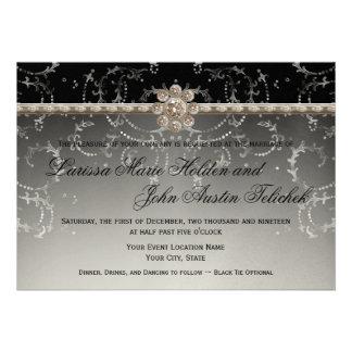 Redemoinhos octogonais do diamante de Bling da pra Convites Personalizado
