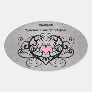 Redemoinhos românticos e corações que wedding adesivo oval