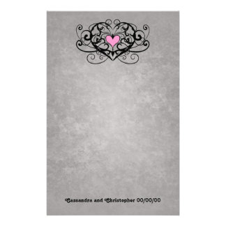 Redemoinhos românticos e corações que wedding papelaria