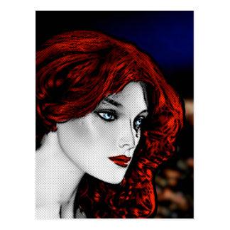 Redhead do estilo da banda desenhada cartão postal