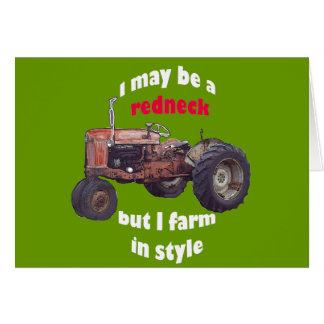 redneck_tractor cartão comemorativo