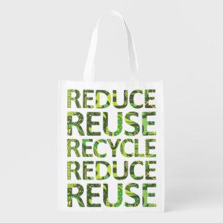 Reduza a bolsa de compra da árvore do verde do sacolas ecológicas