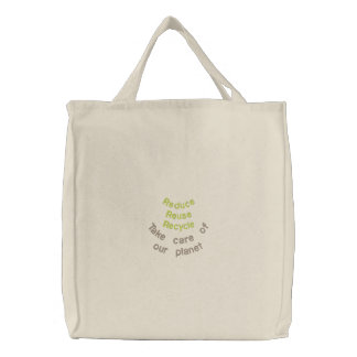 Reduza o reciclar reusar bolsa tote bordada