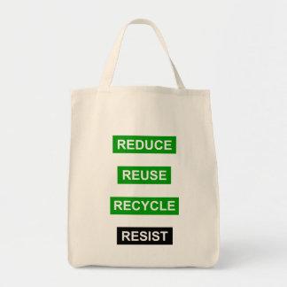 Reduza o reciclar reusar resistem o bolsa