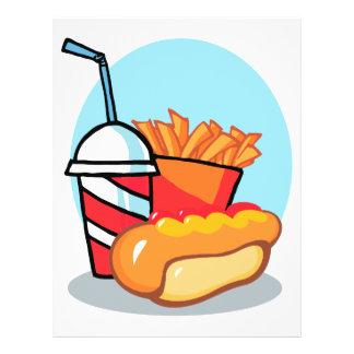 refeição do fast food dos desenhos animados panfleto personalizados