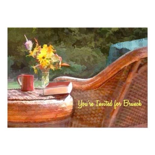 Refeição matinal da cadeira de vime & do café convites