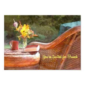 Refeição matinal da cadeira de vime & do café convite 12.7 x 17.78cm