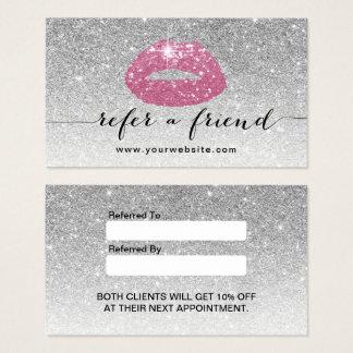 Referência cor-de-rosa do brilho da prata dos cartão de visitas