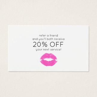 Referência cor-de-rosa do cliente da beleza do cartão de visitas