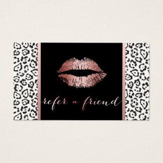Referência cor-de-rosa do leopardo dos lábios do cartão de visitas
