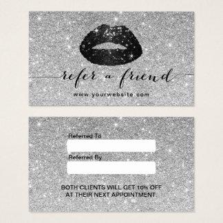 Referência de prata dos lábios do brilho do preto cartão de visitas