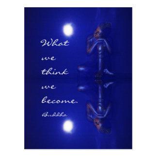 Reflexão azul Mystical de Buddha com citações Cartão Postal