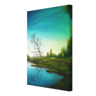 Reflexão surreal do lago - canvas de arte 36x48 de impressão de canvas esticadas