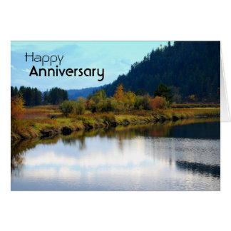 Reflexões do outono do delta do rio do bloco, cartão comemorativo