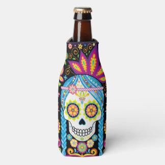 Refrigerador da garrafa do crânio do açúcar - dia porta-garrafa