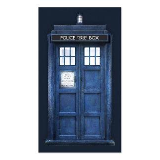 Refrigere a caixa de telefonema de madeira azul da cartão de visita