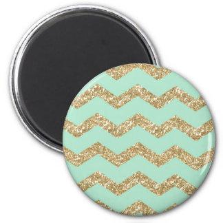 Refrigere o brilho na moda do ouro do falso da ímã redondo 5.08cm