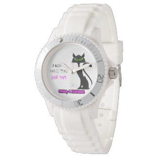 Refrigere o relógio do gato preto
