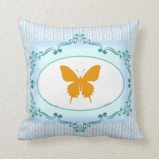 Refrigere o travesseiro azul da borboleta para a almofada