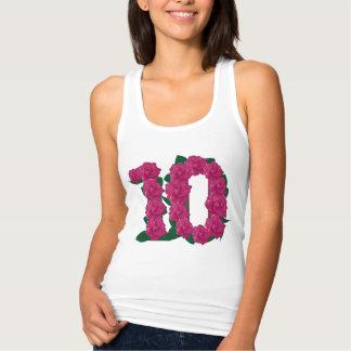 Regata 10o t-shirt floral do aniversário de casamento
