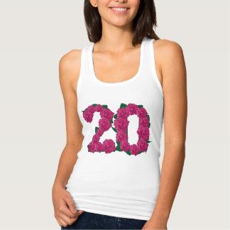 Regata 20o t-shirt floral do aniversário de casamento do