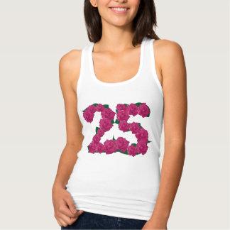 Regata 25o t-shirt floral do aniversário de casamento do