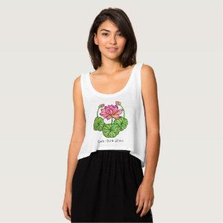 Regata Aguarela Lotus cor-de-rosa com botões & folhas