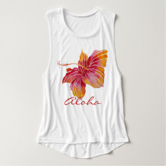 Regata Aloha camisola de alças havaiana da flor do