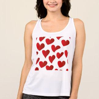 Regata Amor vermelho pintado teste padrão do coração da