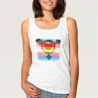Regata Bandeira do Transgender com símbolo e coração do