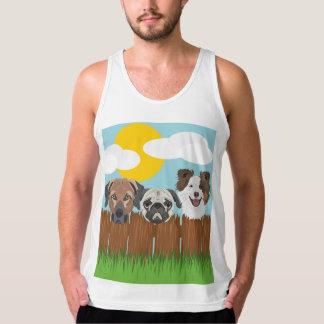 Regata Cães afortunados da ilustração em uma cerca de