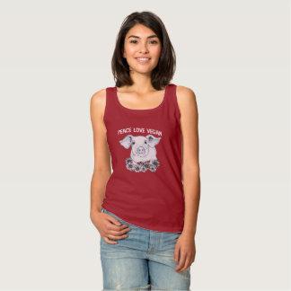 Regata Camisola de alças do porco do Vegan do amor da paz
