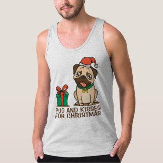 Regata Camisola de alças engraçada do Natal | do Pug e