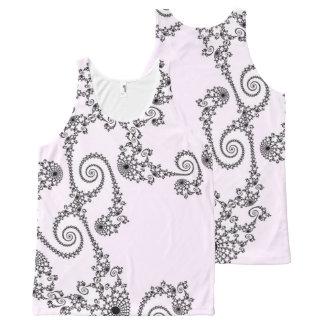 Regata Com Estampa Completa 108-26 laço preto em rosa pálido