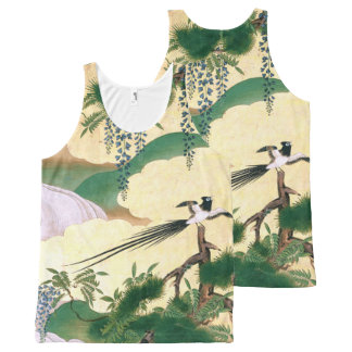 Regata Com Estampa Completa A glicínia asiática da tela floresce a camisola de