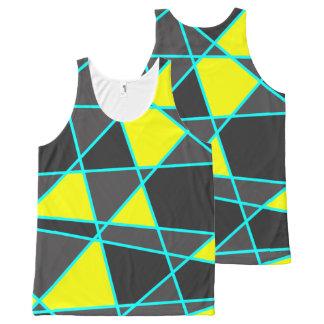 Regata Com Estampa Completa amarelo de néon brilhante geométrico elegante e