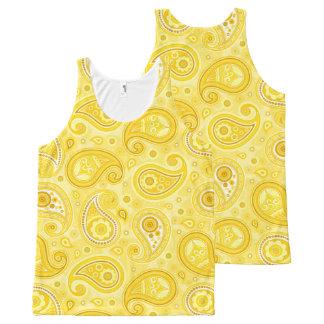 Regata Com Estampa Completa Amarelo do teste padrão de Paisley elegante