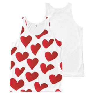 Regata Com Estampa Completa Amor vermelho pintado teste padrão do coração da