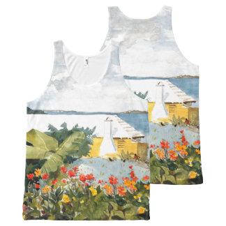 Regata Com Estampa Completa As ilhas Bermuda florescem a camisola de alças do